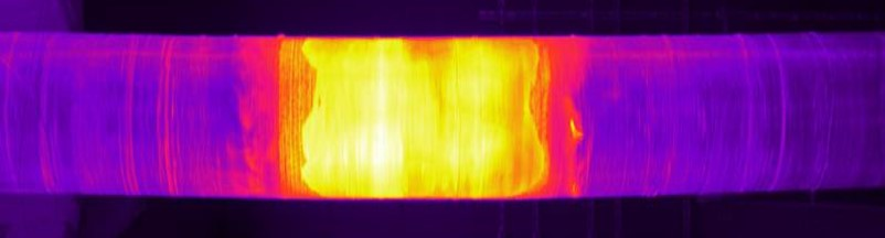 Infrared thermal image of the main cable mock-up 24 hours into cool down.