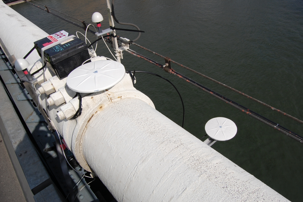 Weatherproof acceleration and differential GPS loggers deployed on the deck and cable of a suspension bridge