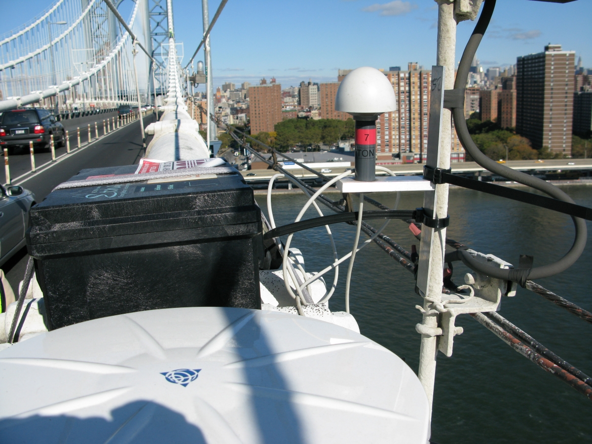 Weatherproof GPS-synchronized acceleration loggers deployed on a bridge abutment