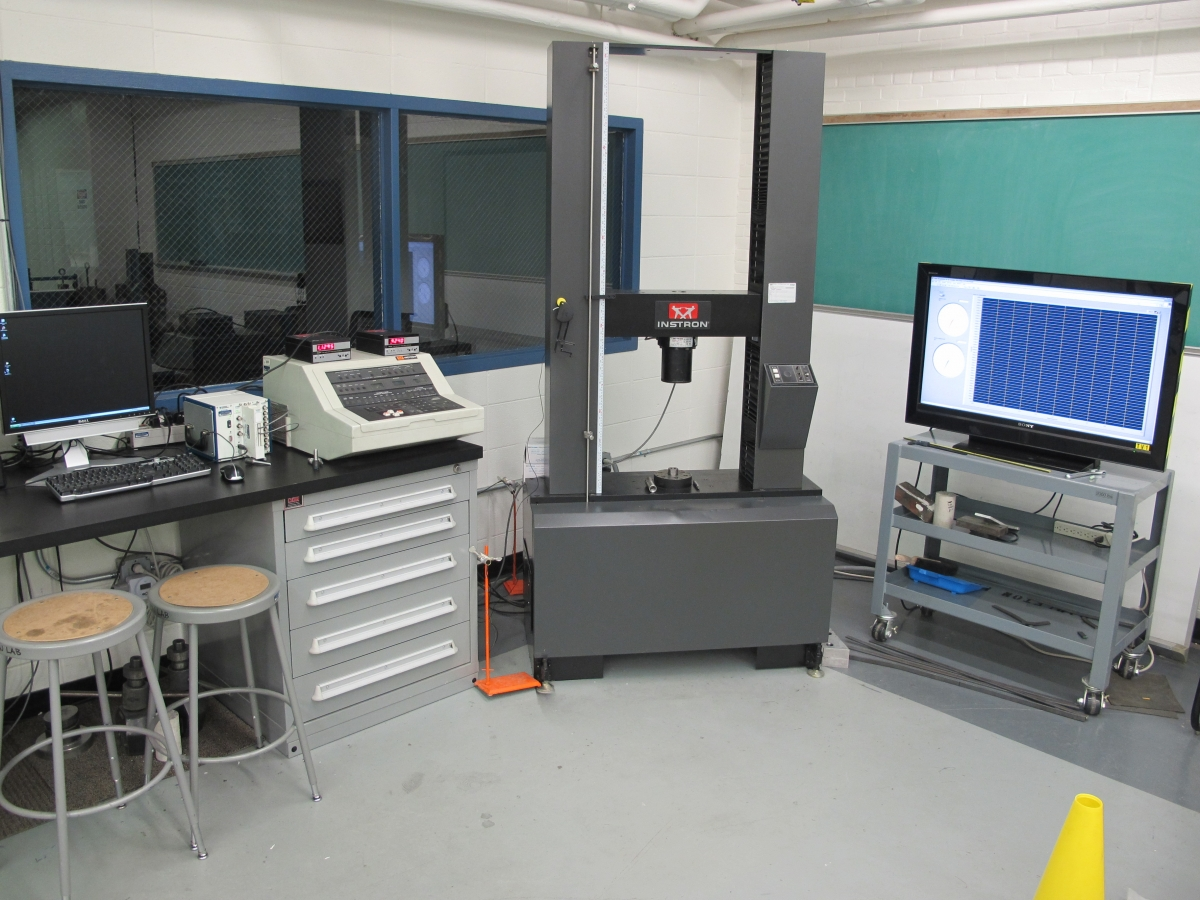 Instron 4206 test frame, controller, data acquisition hardware, and presentation/teaching screen