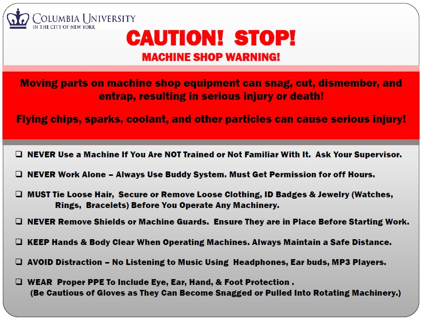 Machine Shop Safety Rules Carleton Laboratory Website