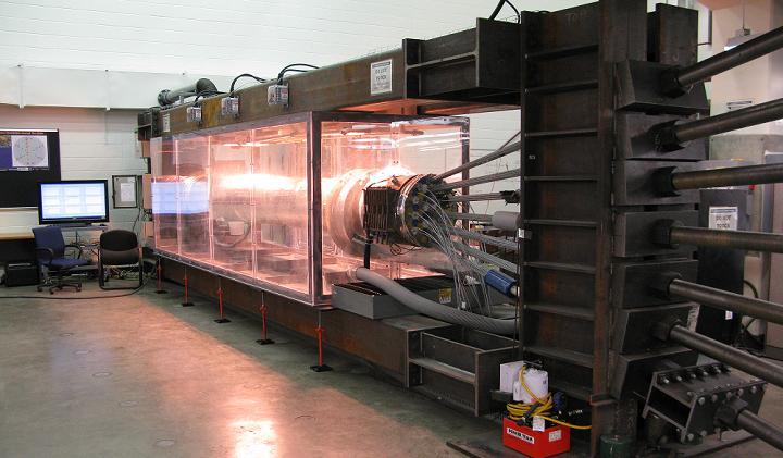Full-scale suspension bridge cable in corrosive chamber